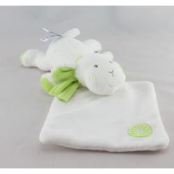 Doudou mouton blanc vert mouchoir BABYSUN