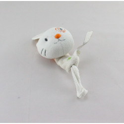 Attache tétine Doudou chat blanc orange KIABI CREATIVTOYS