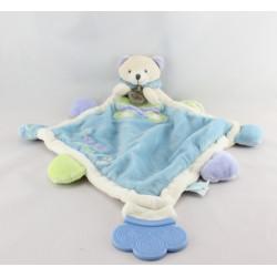 Doudou plat ours bleu vert mauve Super Doudou BABY NAT