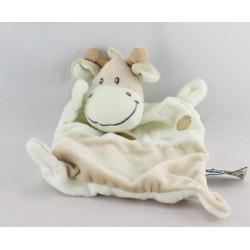 Doudou plat vache blanche beige MOTS D'ENFANTS