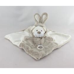 Doudou plat ours déguisé en lapin blanc beige SIMBA TOYS GEMO
