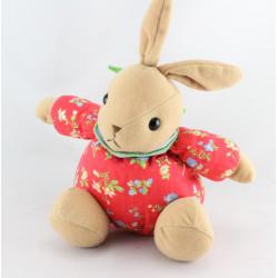 Doudou lapin beige rouge fleurs foulard bleu AJENA