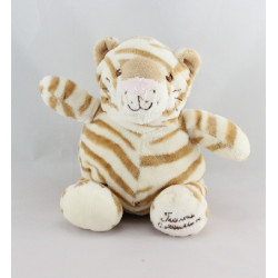 Doudou chat tigre rayé beige TIAMO COLLECTION