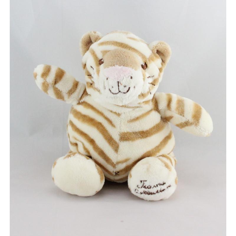 Doudou chat tigre rayé beige TIAMO COLLECTION