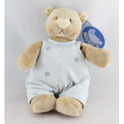 Doudou ours beige bleu fleurs Tonton NOUKIE'S