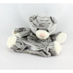 Doudou plat marionnette chat tigré gris HISTOIRE D'OURS