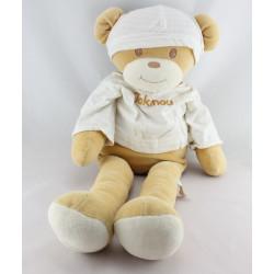 Grand Doudou ours beige blanc TAKINOU 57 cm
