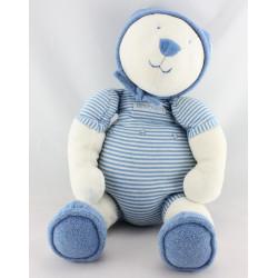 Doudou ours blanc bleu rayé LINVOSGES LES 3 OURS