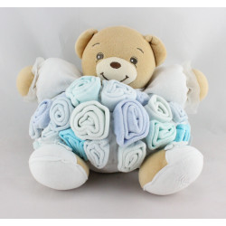 Doudou ours bouquet de roses bleu blanc KALOO