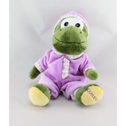 Doudou peluche Dinosaure vert pyjama rose Dimanche CORA