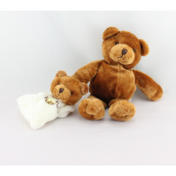 Doudou ours marron avec mini doudou plat NATURE BABY NAT