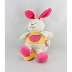 Doudou musical lapin blanc jaune rose LES MATERNELLES