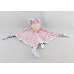 Doudou plat souris bleu rayé rose CP INTERNATIONAL