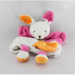 Doudou plat marionnette  L comme Lapin blanc rose orange BABY NAT