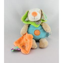 Doudou chien bleu vert mouchoir orange étiquettes Les ZétiK'T BABY NAT