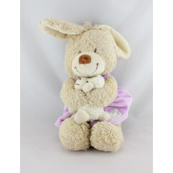 Doudou musical lapin robe rose mauve mouton TEX BABY