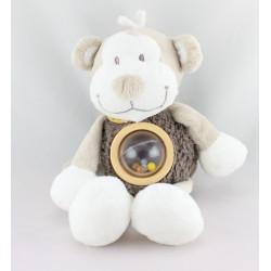 Doudou singe marron beige blanc Bono hochet NOUKIE'S