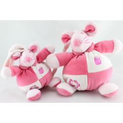 Doudou musical souris rose avec bébé LUC BERNAERT