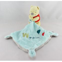 Doudou Winnie l'ourson mouchoir bleu gris ballon DISNEY BABY