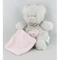 Doudou ours blanc mouchoir mauve BABY NAT