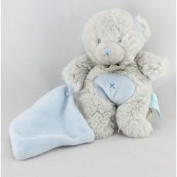 Doudou ours gris mouchoir bleu BABY NAT