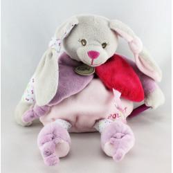 Doudou pantin d'activités  lapin gris rose mauve BABY NAT