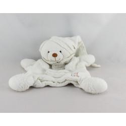 Doudou et compagnie bio plat marionnette ours blanc fleur
