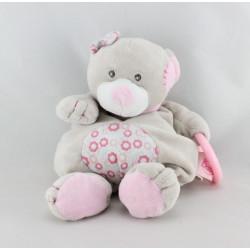 Doudou ours gris beige rose fleur anneau hochet BABY NAT