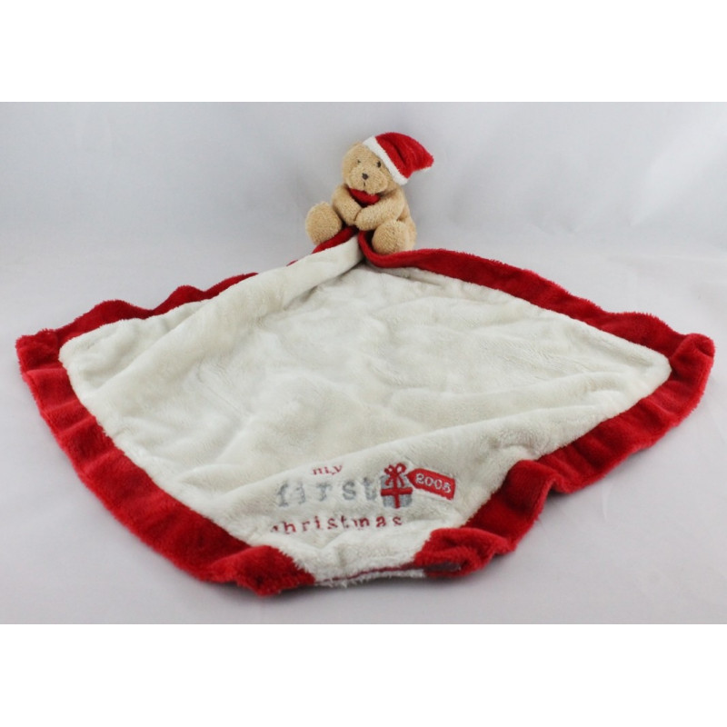 Doudou ours beige rouge mouchoir couverture My First Christmas