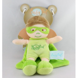 Doudou poupée super héros vert cape BABY NAT