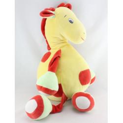 Doudou range pyjama girafe jaune rouge vert SUCRE D'ORGE