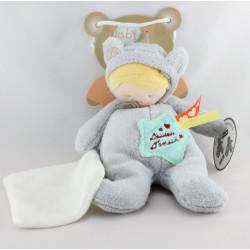 Doudou poupée déguisé en chat gris mouchoir BABY NAT