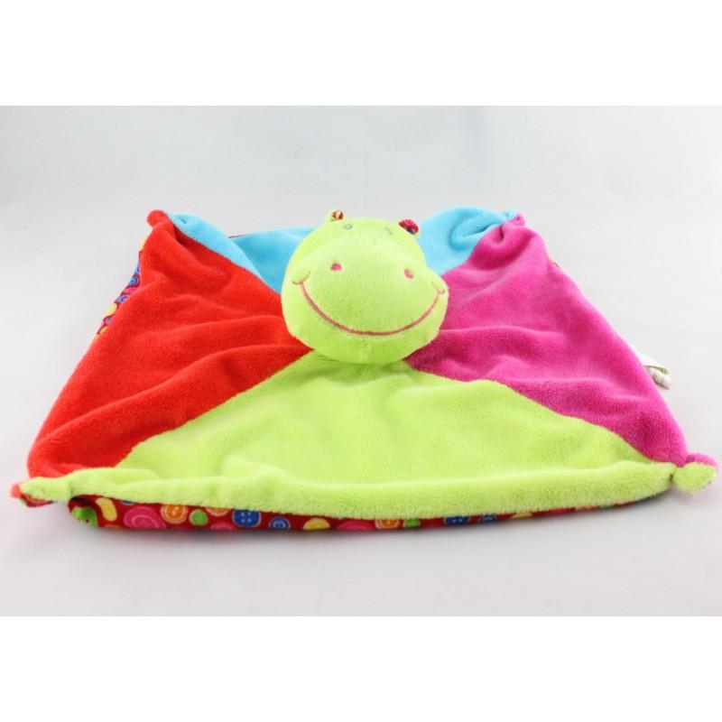 Doudou plat hippopotame vert rose rouge bleu Dodo d'amour MGM