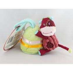Doudou vache rouge cloche verte hochet miroir LATITUDE ENFANT