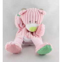 Doudou plat marionnette côtelées ours rose BABY NAT