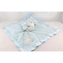 Doudou plat couverture bleu satin lapin Pan-pan Disney