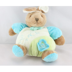 Doudou boule lapin bleu vert blanc TOODO