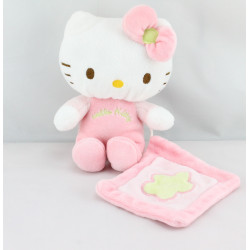 Doudou chat HELLO KITTY rose mouchoir SANRIO LICENSE