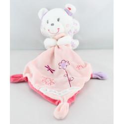 Doudou ours papillon blanc rose mauve mouchoir POMMETTE