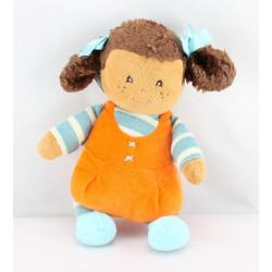 Doudou poupée fille orange bleu nattes AJENA