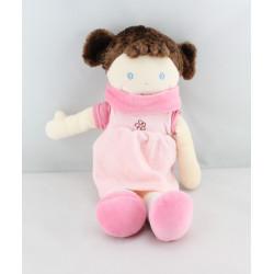 Doudou poupée fille robe rose  fleur NOUNOURS