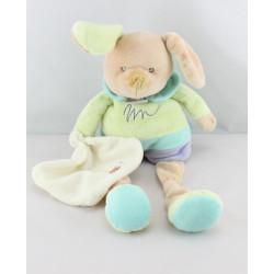 Doudou chien vert bleu mauve mouchoir BABY NAT