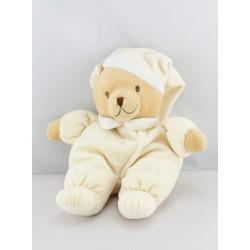 Doudou ours écru jaune bonnet NOUKIE'S