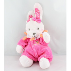 Doudou lapin combinaison rose orange hibou TEX