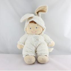 Doudou garçon déguisé en lapin blanc NICOTOY 30 cm