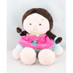 Doudou poupée bleu pancho rose CATIMINI