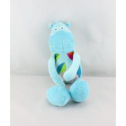 Doudou cheval poney ane bleu feuilles BAWI