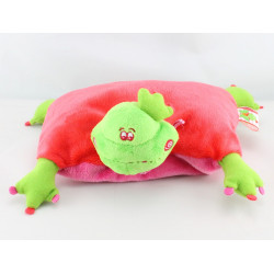 Doudou coussin grenouille verte rouge DUSHI