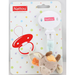 Attache tétine doudou vache beige orange NATTOU