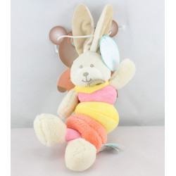 Doudou vibrant lapin rose jaune orange Bubble Gum BABY NAT